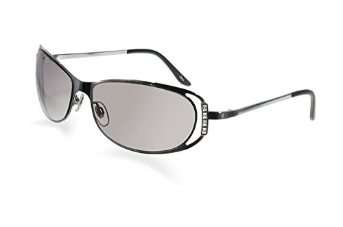(Bevel Edge Silver Cut-out Frame Sunglasses)