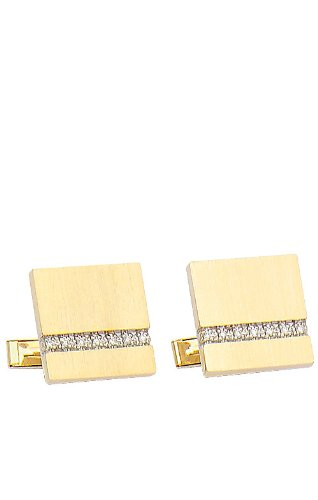 14K Yellow Gold Square Brushed Finish Cufflinks with Row of Diamonds-86607