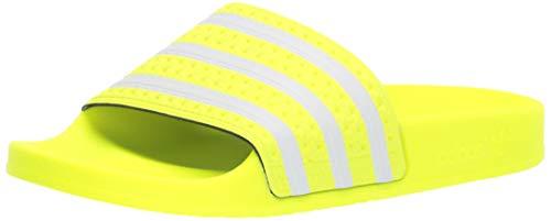 adidas Originals Men's Adilette Slide Sandal, White/Solar Yellow, 9 M US