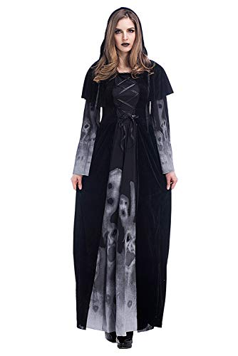 Coser Park Women's Witch Vampire Costume Skeleton Printing Black Long Dress X-Large