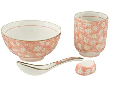 4 Piece Japanese Rice Bowl Set Includes 4.5