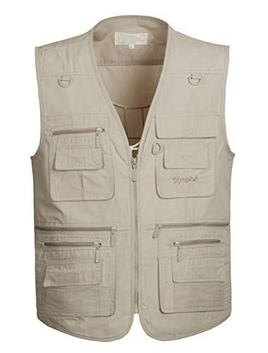 PASOK Men's Work Fishing Vests Lightweight Safari Travel Hunting Waistcoat with Multi-Pockets Color 5 XL