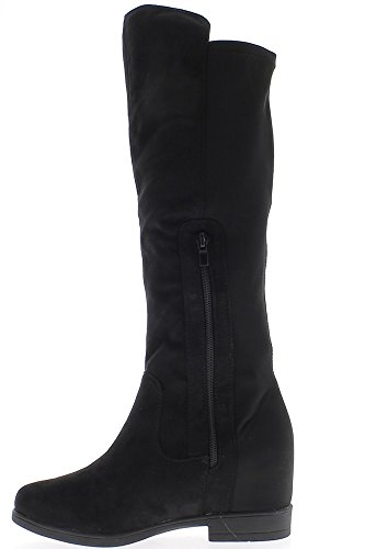 Black lined boots with 6cm aspect satin and suede heels pJLCcS1p