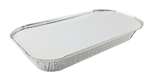 3 lb. Oblong Aluminum Pan w/Board Lid Combo Pack 50 Sets