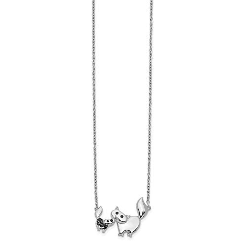 Jewelry Necklaces Necklace with Pendants 14k White Gold Black Diamond Mother and Baby Cat Necklace