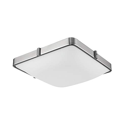 1 Light Flush Mount in Brushed Nickel with Glass - White Opal