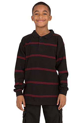 Vibes Boy's Black Cotton Pique Yarn Dye Stripe Long Sleeve Polo Shirt Size L