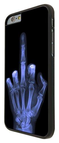 601 - Xray Middle Finger Skeleton Funky Design iphone 6 6S 4.7'' Coque Fashion Trend Case Coque Protection Cover plastique et métal - Noir