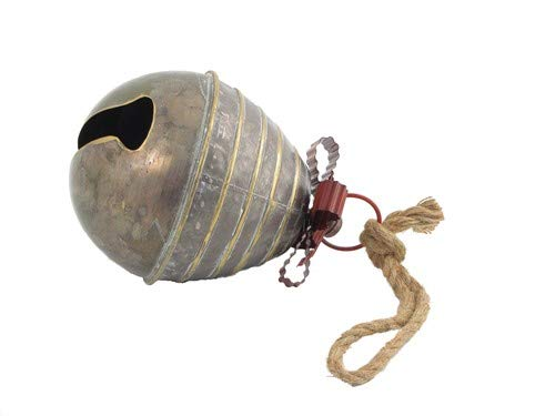 Set of 7, Galvanized Metal, Large Decorative Bells with Metal Ribbons and Rope Hanger Loop