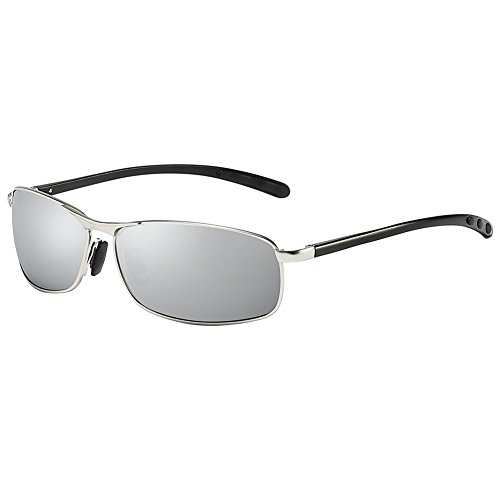 ZHILE Rectangular Polarized Sunglasses Al-Mg Alloy Temple Spring Hinge UV400 (Silver, Silver mirrored)