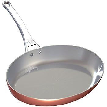 De Buyer Professional 32 cm Inocuivre Copper Oval Frying Pan with Cast Stainless Steel Handle 6425.32