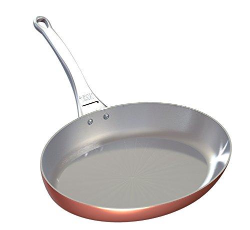 De Buyer Professional 32 cm Inocuivre Copper Oval Frying Pan with Cast Stainless Steel Handle 6425.32 ()