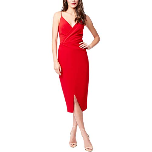 Betsey Johnson Cocktail Dresses - Betsey Johnson Womens Faux Wrap Cami Cocktail Dress Red 4