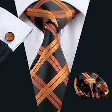 [Blazers Proforms Costumes VDL66484 Oranges Silk Plaids Checks Necktie for Men Deluxe Hankerchief Cufflinks] (Marvel Cable Costume)