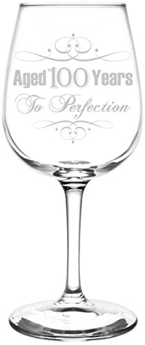 (100th) Aged To Perfection Elegant & Vintage Birthday Celebration Inspired - Laser Engraved 12.75oz Libbey All-Purpose Wine Taster Glass ()