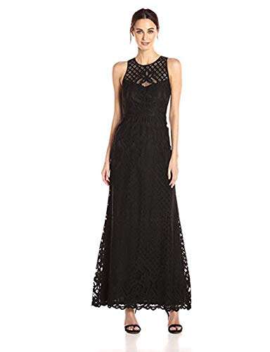 (Vera Wang Women's Sleeveless Lace Gown with Illusion Neckline, Black, 6)