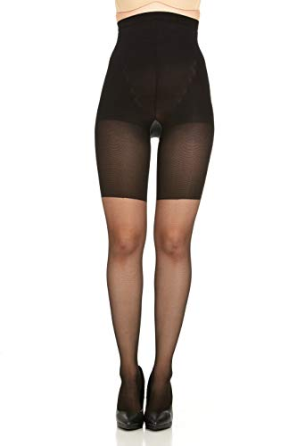 High Waist Pantyhose - Assets Red Hot Label Body Shapers High-Waist Shaping Pantyhose, 7 (Black)
