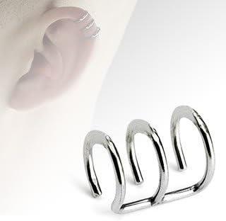 Clip On Ear Cuff Gioielli Per Il Corpo Finto Piercing Helix Triplo Con Anello Look Amazon It Gioielli