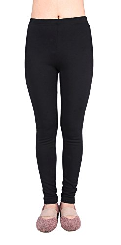 Price comparison product image IRELIA Kids Girls 100% Cotton Fleece Lined Solid Leggings Warm Pants for Winter Black S
