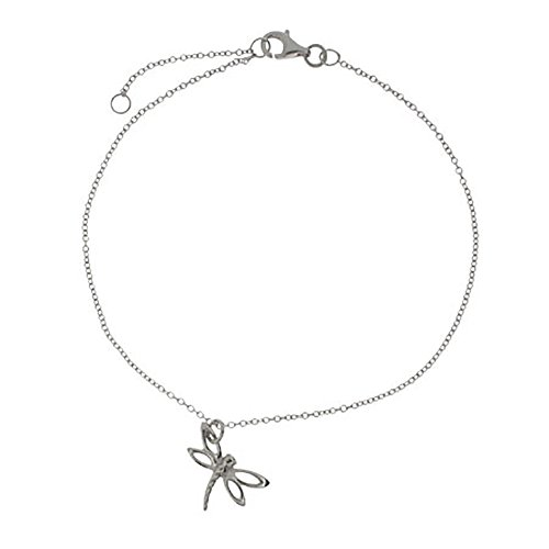 "Sterling Silver Dragonfly Charm Anklet Bracelet, 8.5"" to 9.5"" Long"