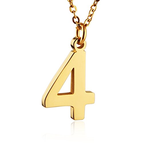 HZMAN Womens Stainless Steel Number 0-9 Charms Pendant Necklace 2 Colors Gold Silve (4 - Gold)