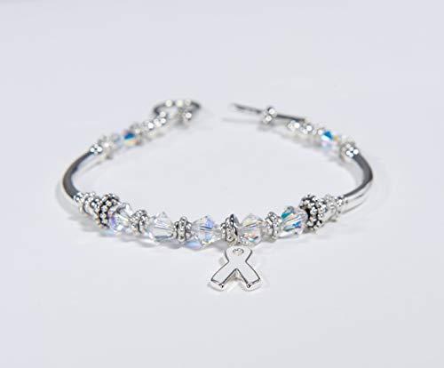 White or Pearl Ribbon Awareness Charm Bracelet: Swarovski Crystals for Lung Cancer, Emphysema, Osteoporosis, Lung Disease, Bone Disease, MHE. #01