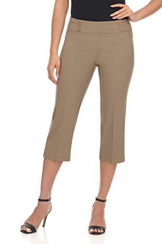 Rekucci Women's Ease in to Comfort Fit Capri with Button Detail (18,Oatmeal)