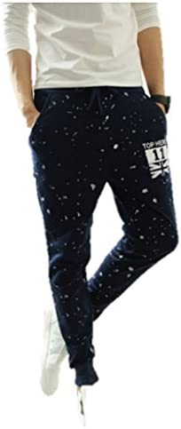 メンズ スリム ペイント加工 スウェット パンツ ジョガー ストリートスタイル スマート スキニー 細身 カジュアル