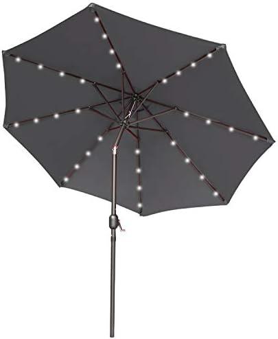 9FT Patio Umbrella Ourdoor Solar Umbrella LED Umbrella