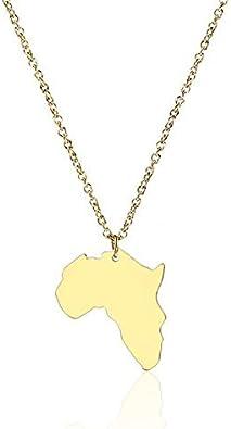 Gold Afrika Karte Anhänger Kontinent Halskette Edelstahl