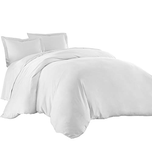 Creek Bedding Collection - Sterling Creek Silky Soft 3-Piece 100% Bamboo Viscose Duvet Cover Set (Queen, White)