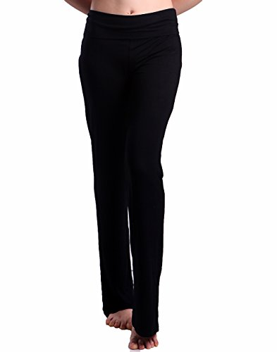 HDE Foldover Athletic Yoga Pants Gym Workout Leggings (Black, Large) ()