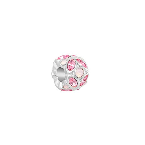 (Chamilia Women's Stained Glass Charm Light Rose and Rose Water Opal Swarovski Crystal, Pink, One Size )