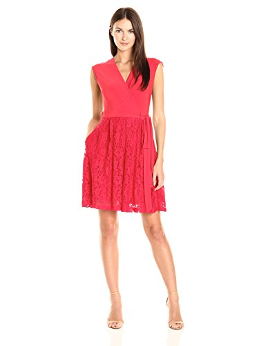 Taylor Dresses Women's Jersey and Lace Mock Wrap Fit and Flare, Red, 8