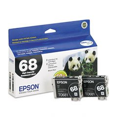 (Epson® T068120D1 (68) Inkjet Cartridge CARTRIDGE,HICAP 68,2PK,BK (Pack of2))