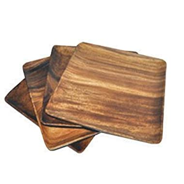 Pacific Merchants Trading Acaciaware 7-Inch Acacia Wood Square Plate, set of 4