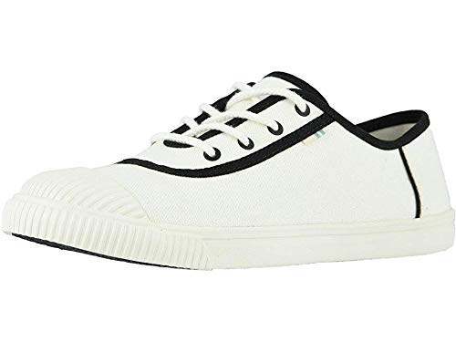 TOMS Women's Carmel White/Black Canvas/Toe Cap 6.5 B US
