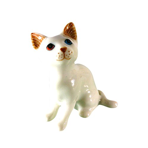 Dead School Girl Costume Asda (Sansukjai White Cat Gem/Diamond Eye Ceramic Hand Painted Animals Collectible Gift Home Decorate)