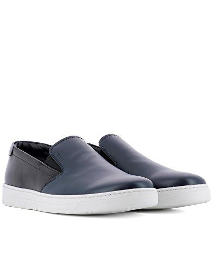 Blau Herren Leder Slip Schwarz Sneakers Prada on 4D31753F08F0HDP E1Rd6q