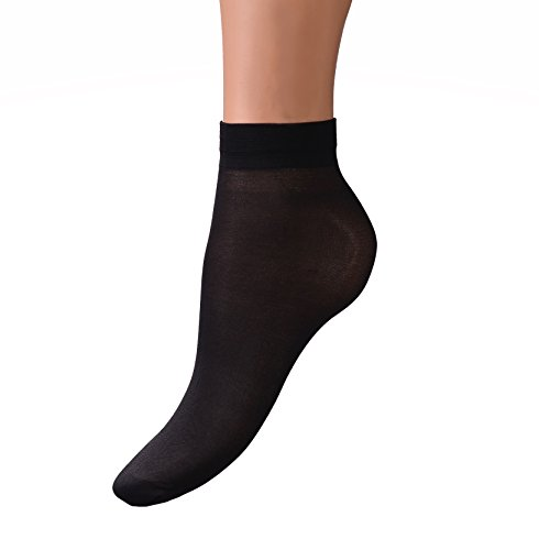 Intrigue+Womens+Sheer+Ankle+Socks+-+8+Pack+-+Cute+Transparent+Hosiery+-+Black