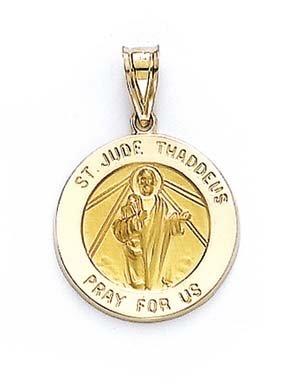 Médaille RONDE 14 Carats Pendentif St Jude JewelryWeb
