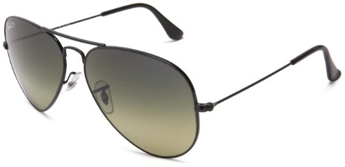 Ray-Ban AVIATOR LARGE METAL - BLACK Frame CRYSTAL POLAR BLU GRAD.GREEN Lenses 58mm - Ban Ray About Sunglasses