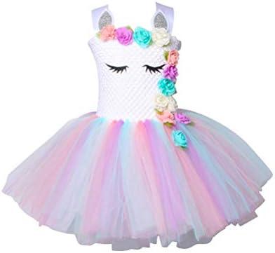 Kids Girls Unicorn Dress Party Costume Fancy Outfit Tutu Rainbow Flower Sundress