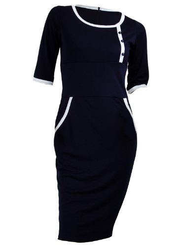 Navy Blue Sailor Nautical Pinup Rockabilly 3/4 Sleeve Pencil Women's Dress - Small (Sailor Dress Wiggle)