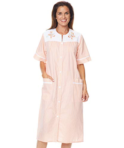 - AmeriMark Embroidered Seersucker Duster Robe Snap Front House Dress Lounger Nightgown with Two Pockets and Pinstripes