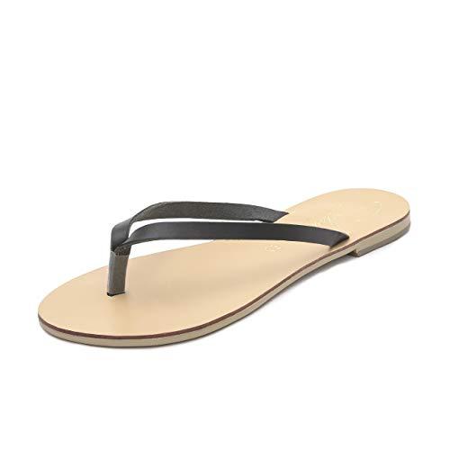 Faites Chics Plates Schmick Pour D'été À Noir En Tongs Chaussures Bohèmes Sandales Naturel Femme Cuir Luca La Main xpqwRx7g
