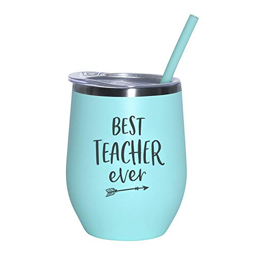 Best Teacher Ever - 12 oz Mint Stainless Steel Vacuum Insulated Wine Tumbler with Lid and Straw (ENGRAVED) | Christmas Gift for Teacher | End Of Year Teacher Gift | Teacher Appreciation