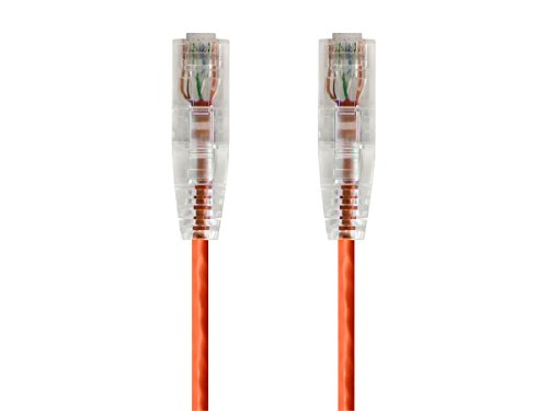 (Monoprice Cat6 Ethernet Patch Cable - 10 feet - Orange | Snagless RJ45 Stranded 550MHz UTP CMR Riser Rated Pure Bare Copper Wire 28AWG - SlimRun Series)