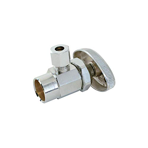 Eastman 04384LF Multi-Turn Brass Sweat Inlet Angle Stop Valve with Removable Metal Handle, 1/2-Inch Nom. Sweat Inlet x 1/4-inch OD Outlet, Chrome Plated