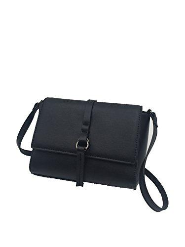FiveMax Vintage Women Handbag Shoulder Bag Clutch Crossbody Purse Leather Lady Bag - Black